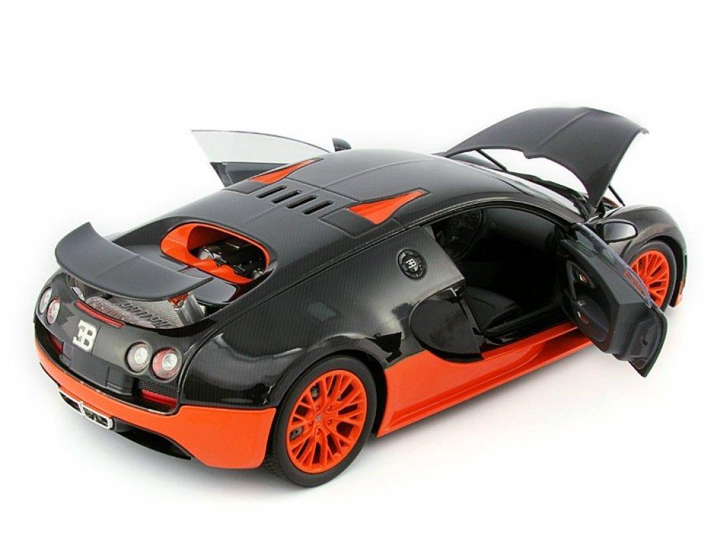 1:18 Minichamps BUGATTI VEYRON SUPER SPORT - 2010 - CARBON/ORANGE - WORLD RECORD CAR