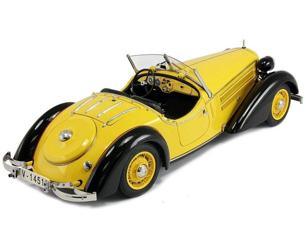1:18 CMC AUDI 225 FRONT ROADSTER BLACK/YELLOW 1935