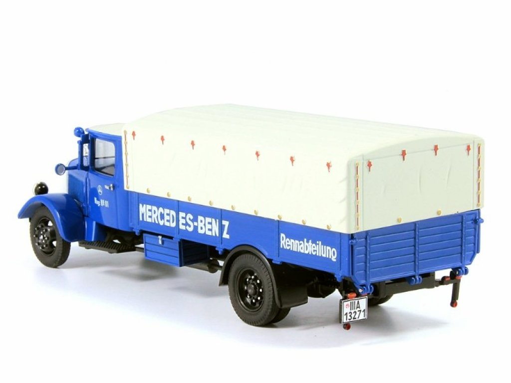 1:43 Premium ClassiXXs Mercedes-Benz LO2750 MB Renntransporter 1933 перевозка гоночных а/м, с трапами, синий
