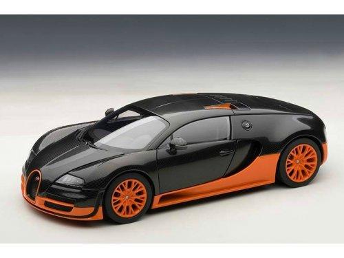 1:18 AUTOart BUGATTI VEYRON SUPER SPORT (CARBON BLACK/ORANGE SKIRTS) 2010