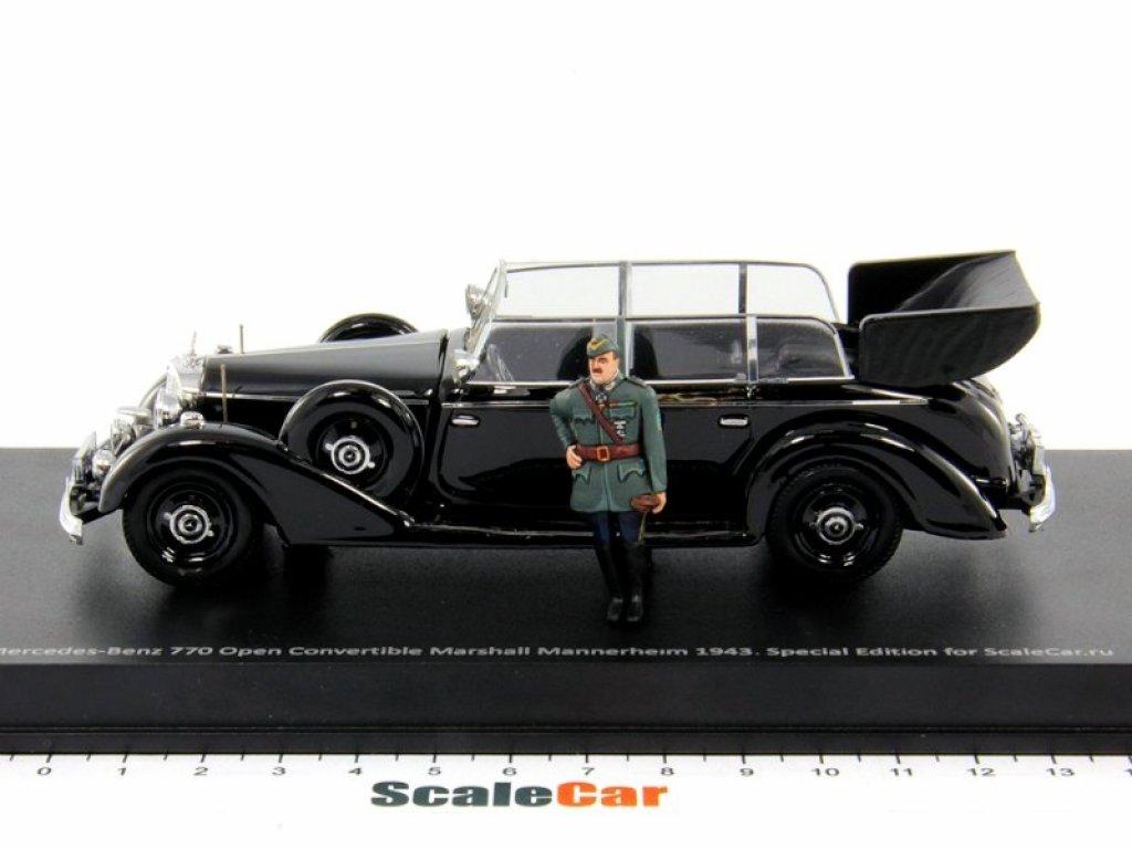 1:43 Rio Mercedes-Benz 770F маршала Карла Маннергейма 1943 открытый кабриолет с фигуркой (специальное издание, тираж 100 шт.)