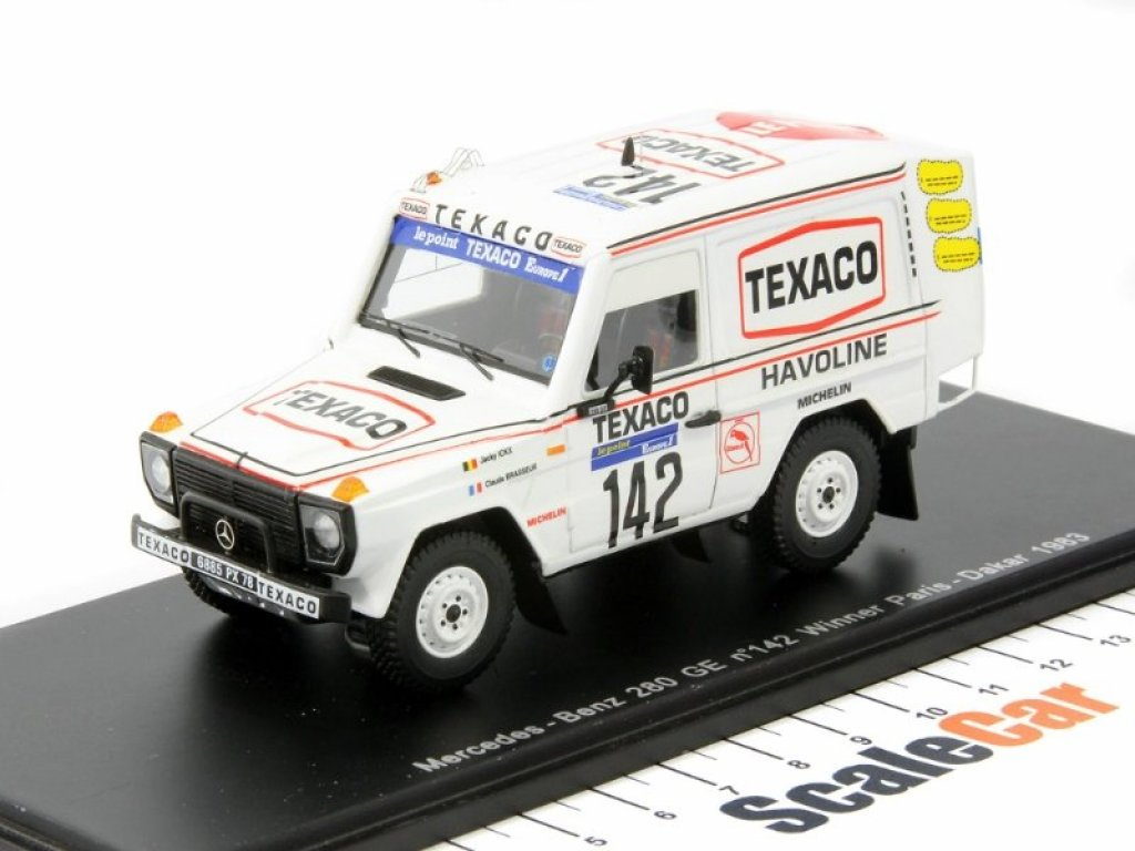 1:43 Spark Mercedes-Benz 280 GE W460 Победитель ралли-рейда Париж-Дакар 1983 года Winner Rally Paris-Dakar 1983 Texaco Nr.142, Ickx / Brasseur, Sieger