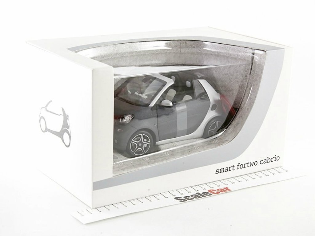 1:18 Norev Smart ForTwo Cabriolet A453 2015 серый мет/серебристый с красным тентом