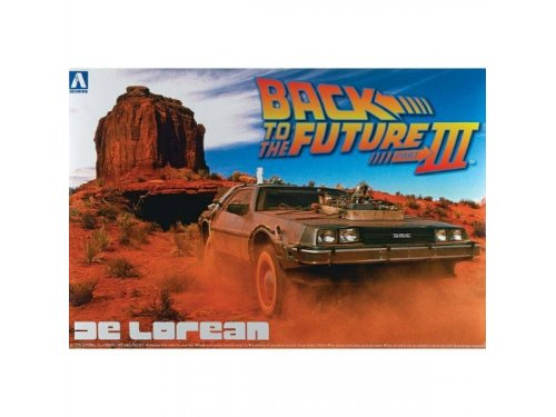 1:24 Aoshima Автомобиль DeLorean GMC LK coupe & railroad Back to the Future (фильм Назад в будущее-3, на железнодорожном шасси)