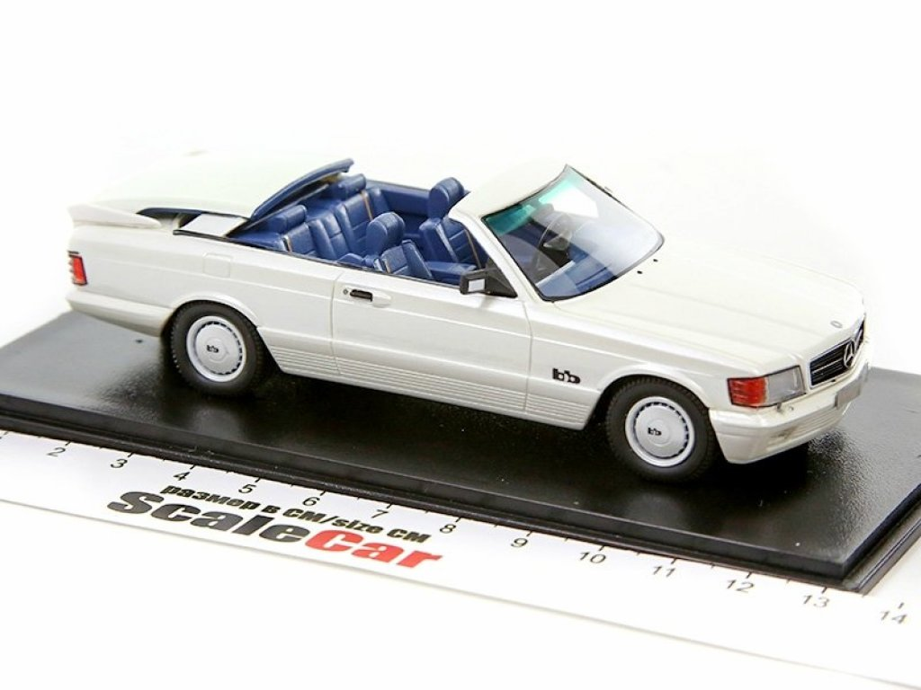 1:43 NEO Mercedes-Benz 500SEC AMG BB Magic Top Convertible 1985 C126 (W126) Metallic White белый перламутр