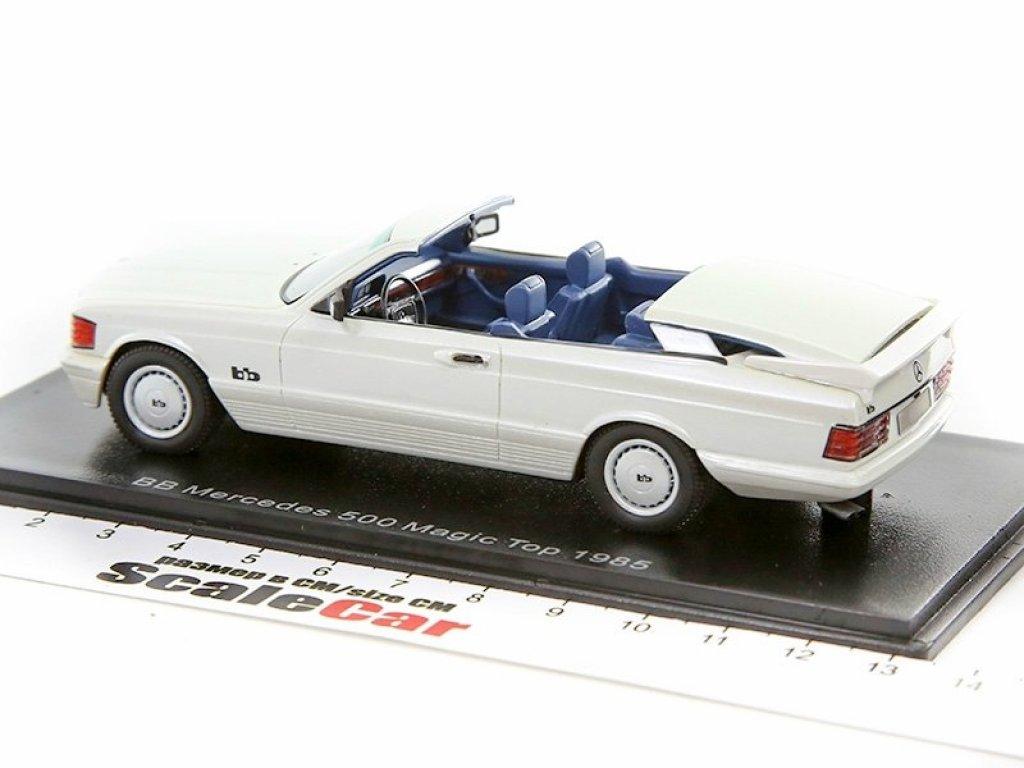 1:43 NEO Mercedes-Benz 500SEC AMG BB Magic Top Convertible 1985 C126 (W126) Metallic White белый перламутр