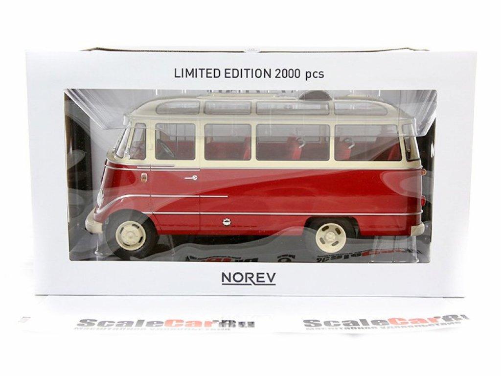 1:18 Norev Mercedes-Benz O319 Bus 1960 красный с бежевым