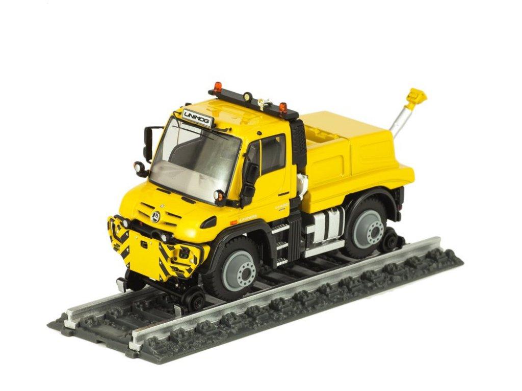 1:50 NZG Mercedes-Benz Unimog U430 железнодорожный тягач желтый