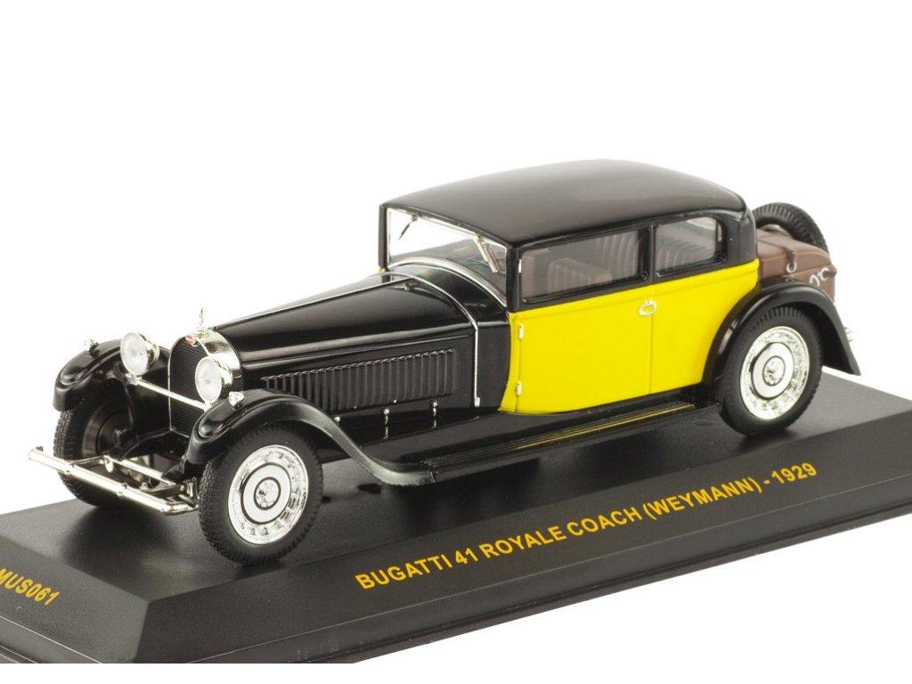 1:43 IXO Bugatti 41 Royale Coach (Weymann) 1929 черный с желтым