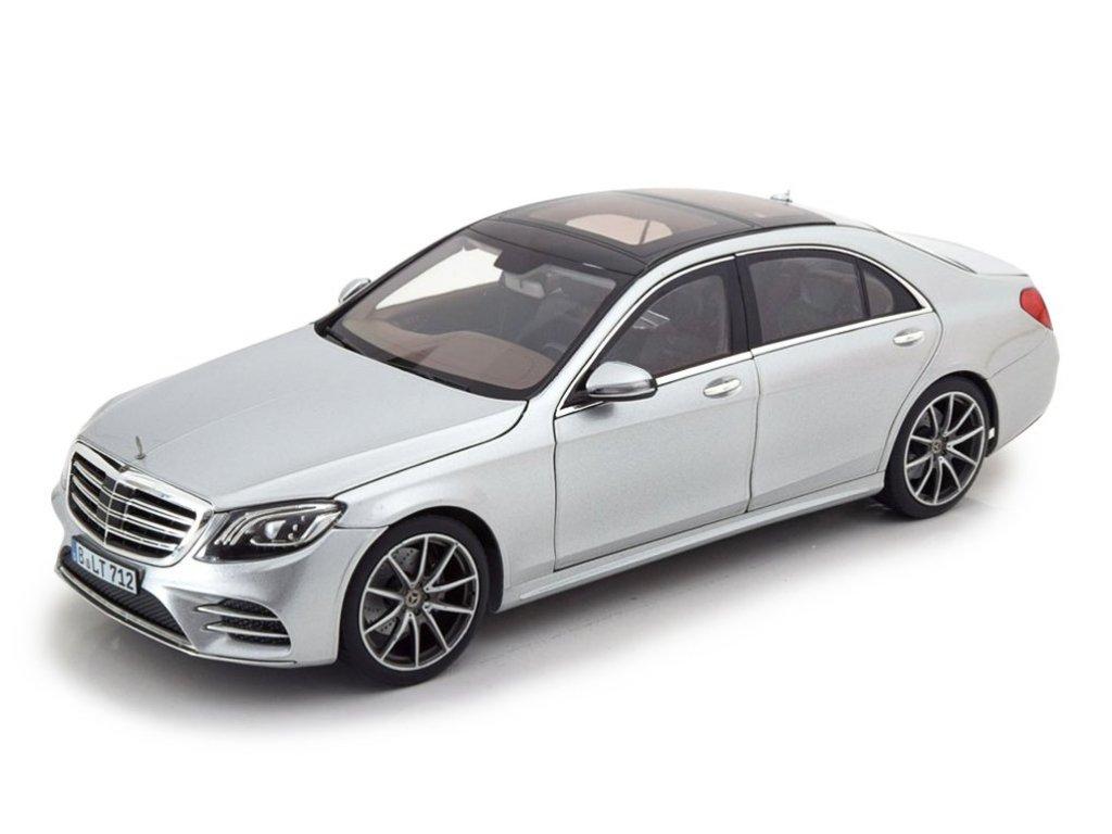 1:18 Norev Mercedes-Benz S-Class AMG-Line (V222) 2018 серебристо-голубой металлик