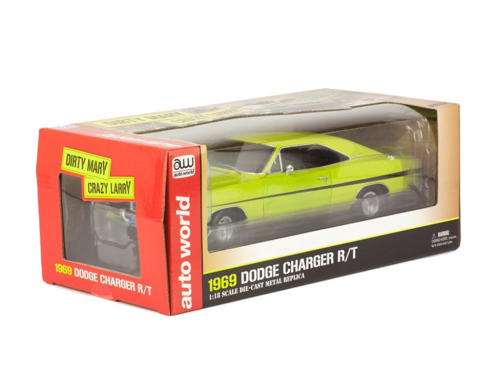 1:18 Auto World Dodge Charger R/T 1969 из к/ф Dirty Mary, Crazy Larry зеленый