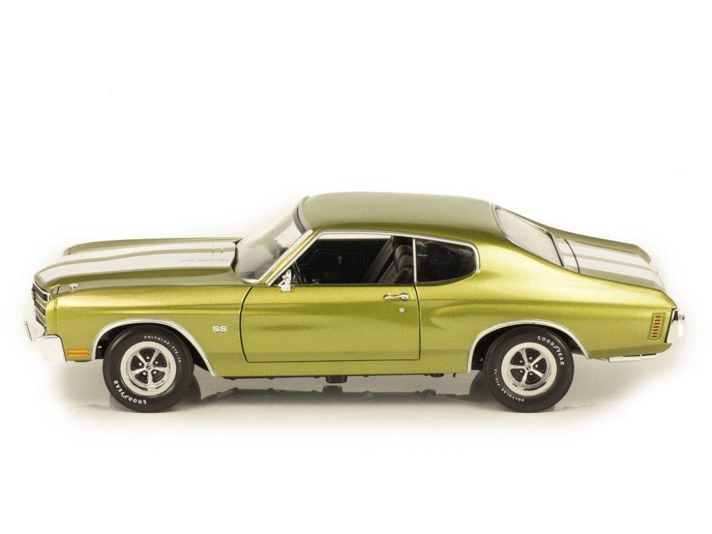 1:18 Auto World Chevrolet Chevelle SS зеленый металлик с белыми полосками