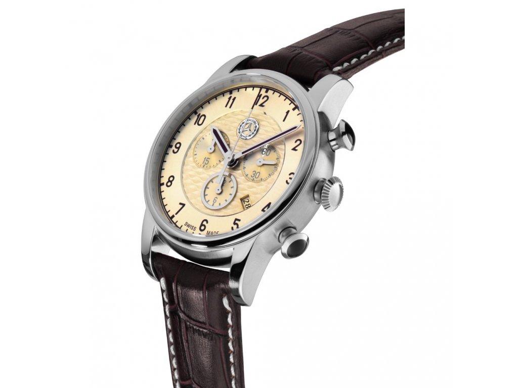 Mercedes Accessories Мужские наручные часы High Classic с элементами, стилизованными под Mercedes 300SL, с коричневым ремешком и бежевым циферблатом