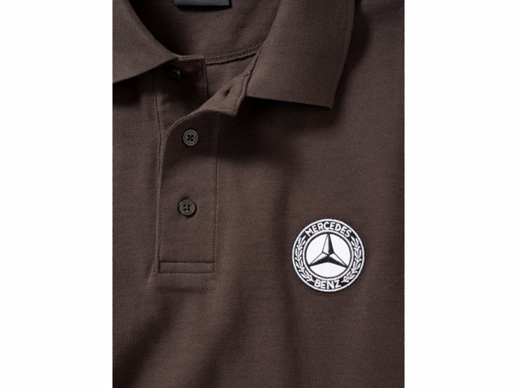 Mercedes Accessories Рубашка-поло мужская коричневого цвета cо звездой Mercedes