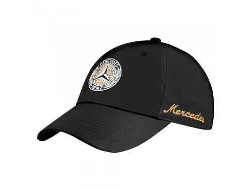 Mercedes Accessories Женская черная бейсболка из хлопка со звездой Mercedes и вышивкой золотистого цвета
