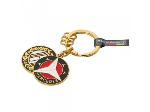 Mercedes Accessories Латунный брелок для ключей с двумя историческими эмблемами Mercedes