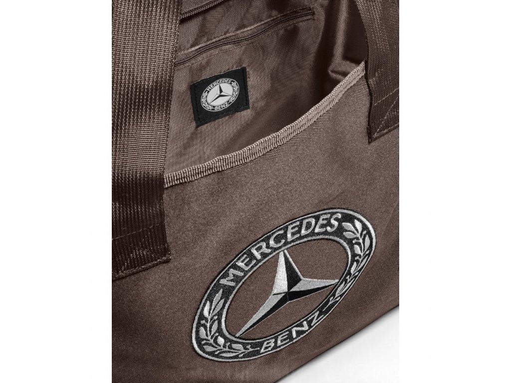 Mercedes Accessories Коричневая сумка для покупок из полиэстера с классическим логотипом Mercedes