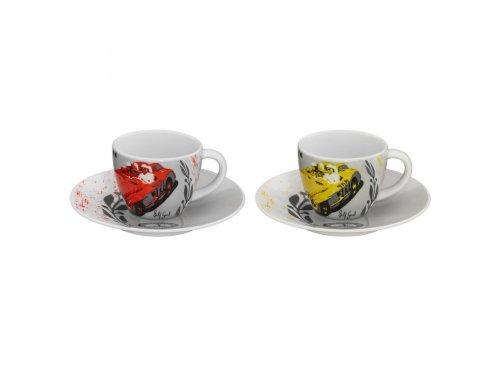 Mercedes Accessories Комплект из двух фарфоровых чашек для эсперессо с изображением исторических гонок