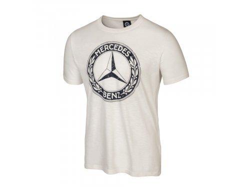 Mercedes Accessories Футболка мужская дымчато-белого цвета с крупной эмблемой Mercedes