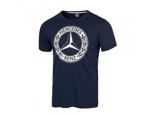 Mercedes Accessories Футболка мужская темно-синего цвета с крупной эмблемой Mercedes