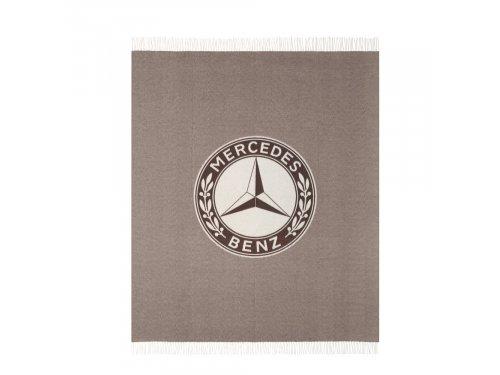 Mercedes Accessories Темно-коричневый хлопковый плед со светлой бахромой и эмблемой Mercedes