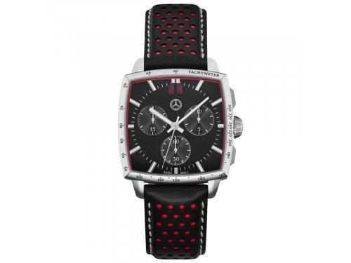Mercedes Accessories Мужские наручные часы-хронограф из стали с красно-черным кожаным ремешком