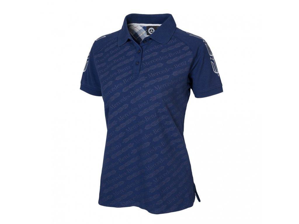 Mercedes Accessories Рубашка-поло женская темно-синего цвета с принтом Mercedes-Benz