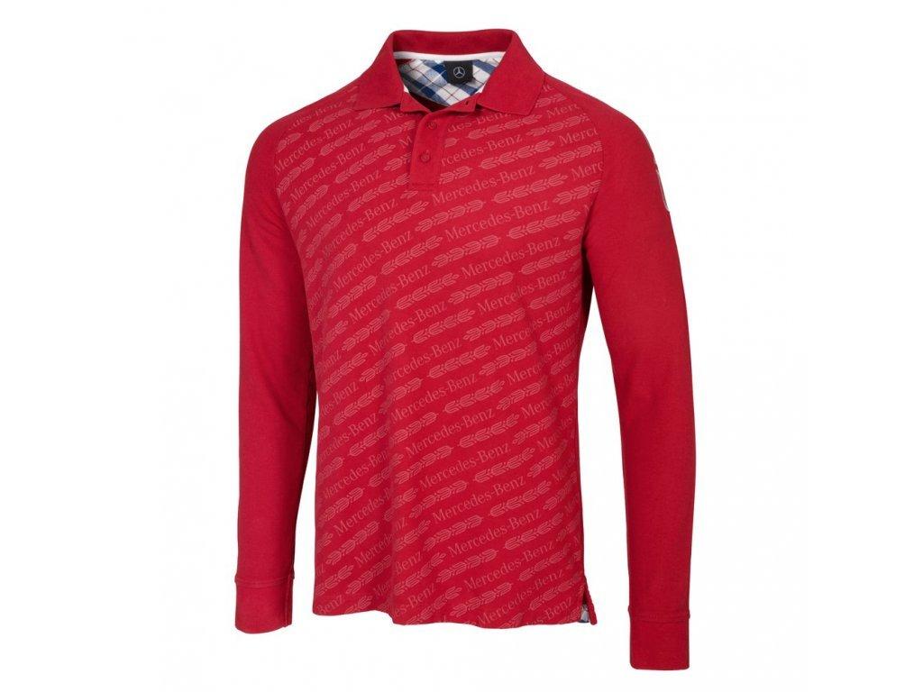 Mercedes Accessories Рубашка-поло мужская бордового цвета с длинным рукавом