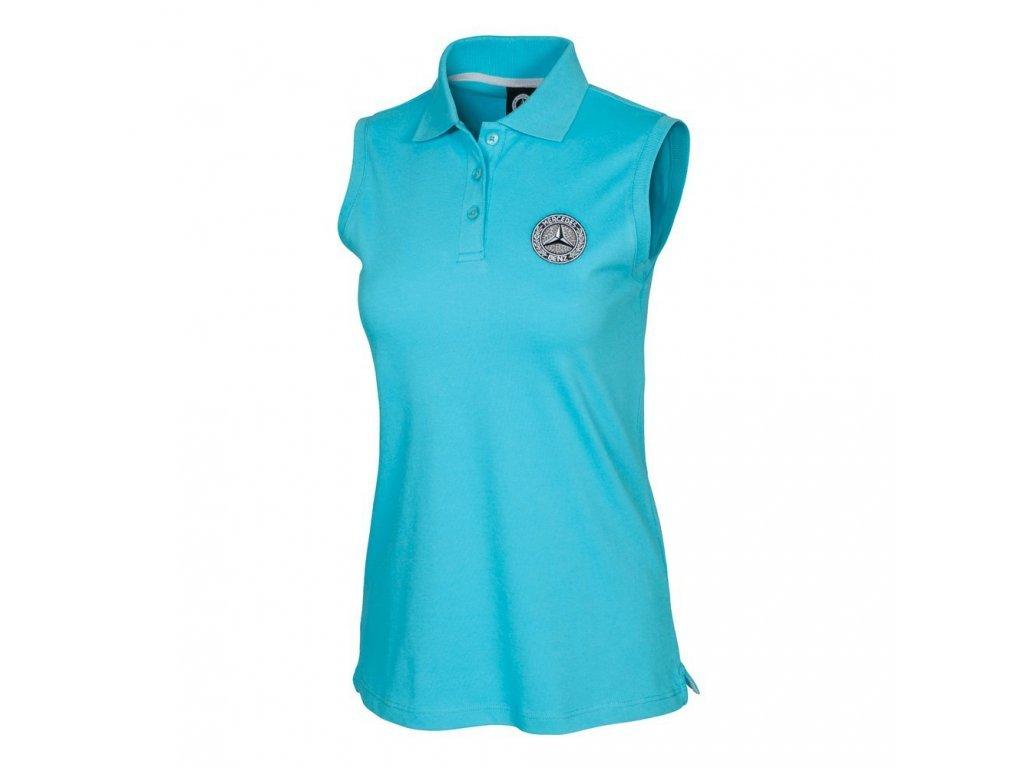 Mercedes Accessories Рубашка-поло женская бирюзового цвета без рукавов