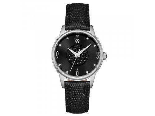 Mercedes Accessories Женские наручные часы из стали с черными и прозрачными кристаллами Swarovski