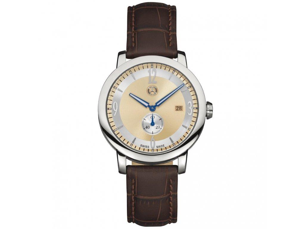 Mercedes Accessories Мужские наручные часы со стальным циферблатом и коричневым кожаным ремешком
