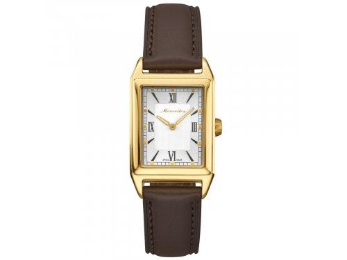 Mercedes Accessories Женские наручные часы с прямоугольным циферблатом и коричневым кожаным ремешком
