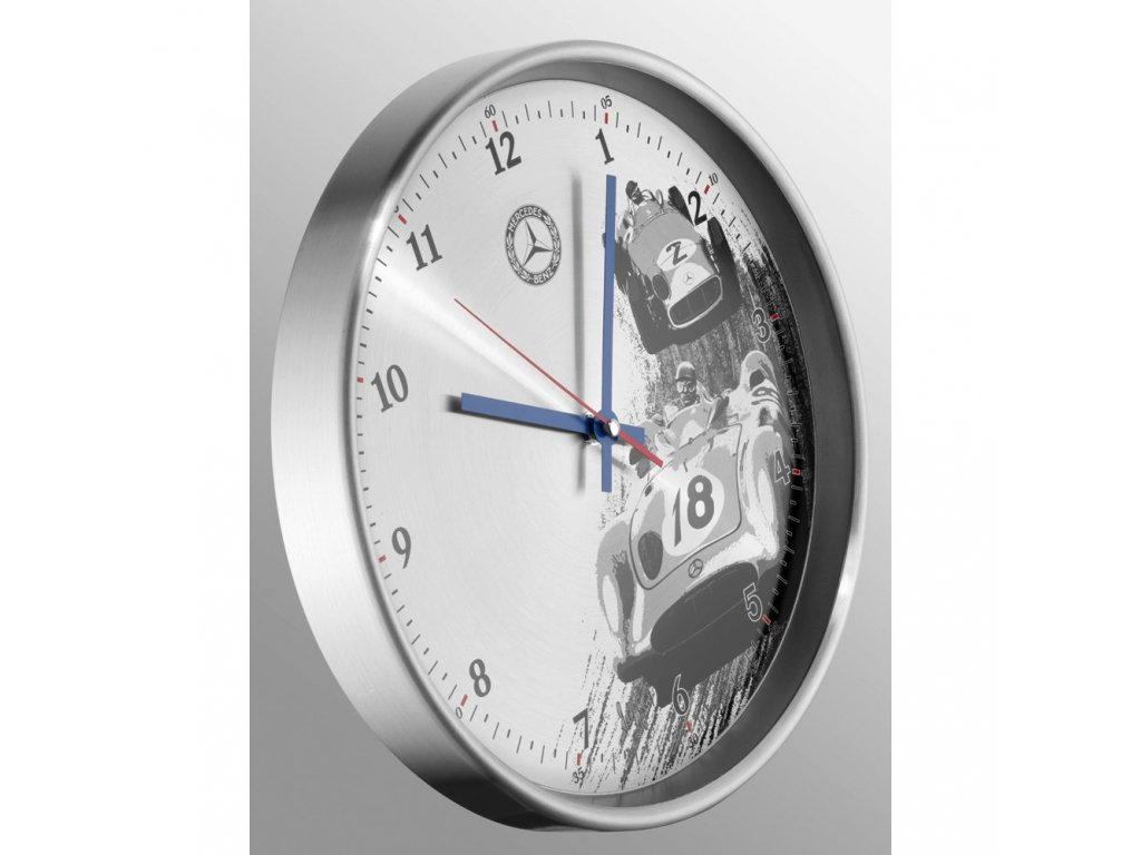 Mercedes Accessories Настенные часы из алюминия с эмблемой Mercedes-Benz и принтом исторической гонки