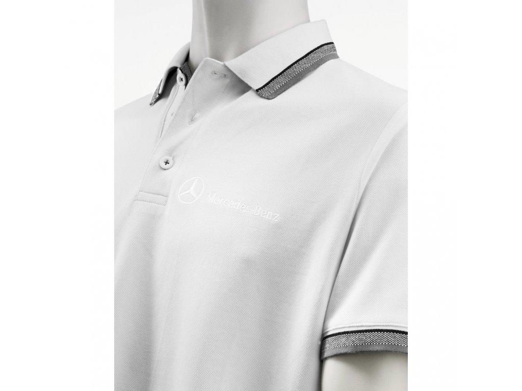 Mercedes Accessories Рубашка-поло мужская белого цвета с вышитым логотипом Mercedes