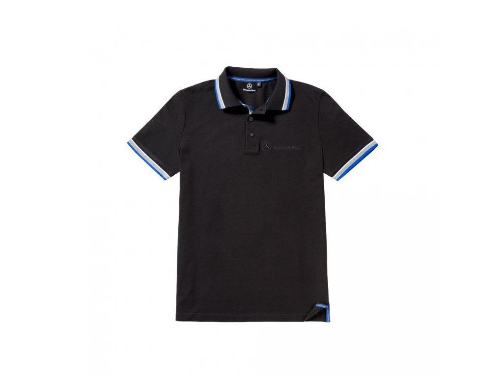 Mercedes Accessories Рубашка-поло мужская черного цвета с вышитым логотипом Mercedes