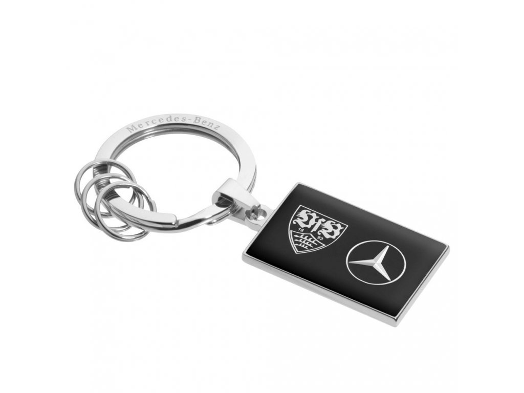 Mercedes Accessories Брелок для ключей из нержавеющей стали со звездой Mercedes и эмблемой VfB Stuttgart