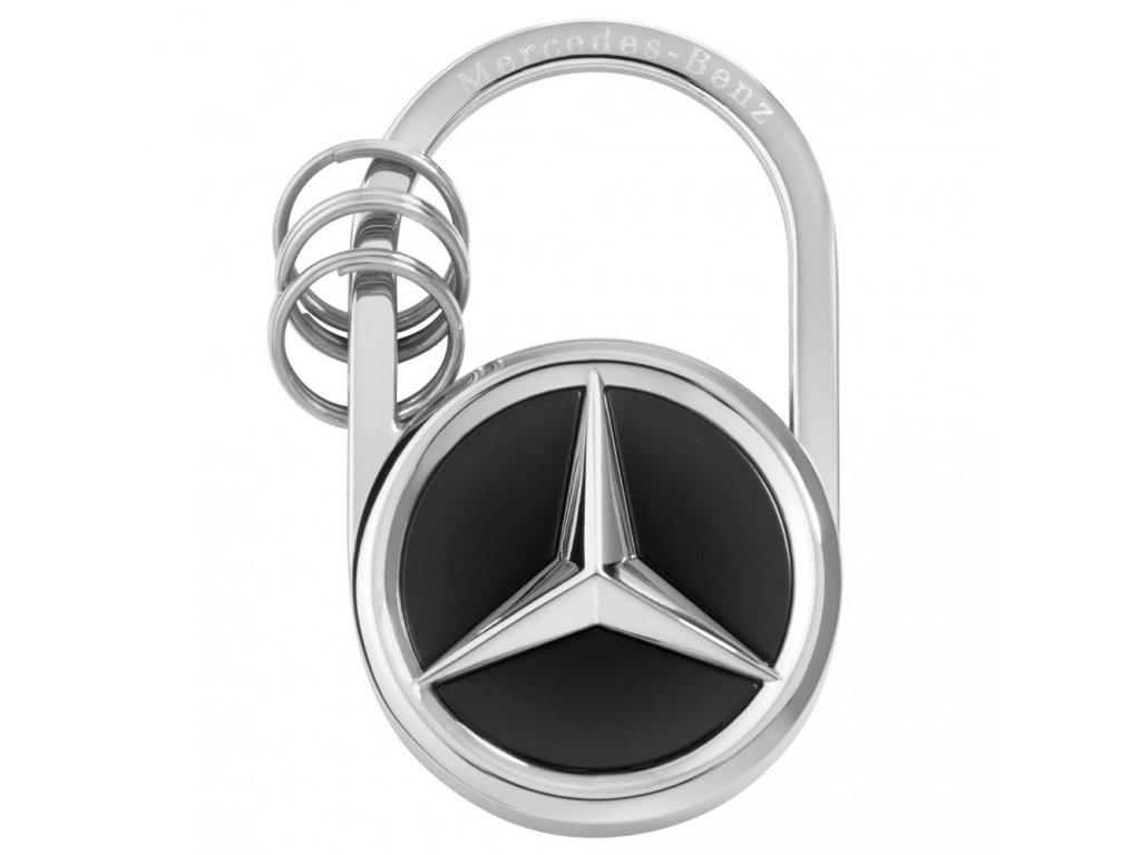 Mercedes Accessories Серебристо-черный брелок для ключей из нержавеющей стали со звездой Mercedes