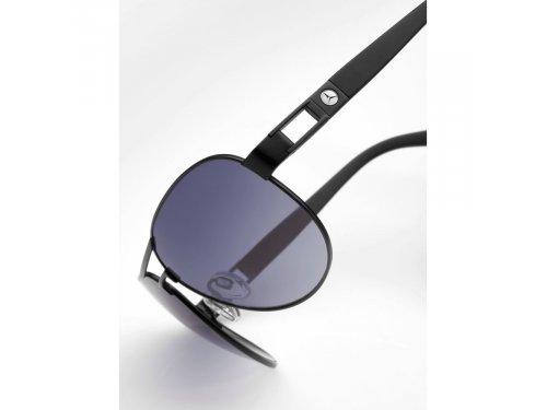 Mercedes Accessories Солнцезащитные мужские очки в черной металлической оправе с эмблемой Mercedes