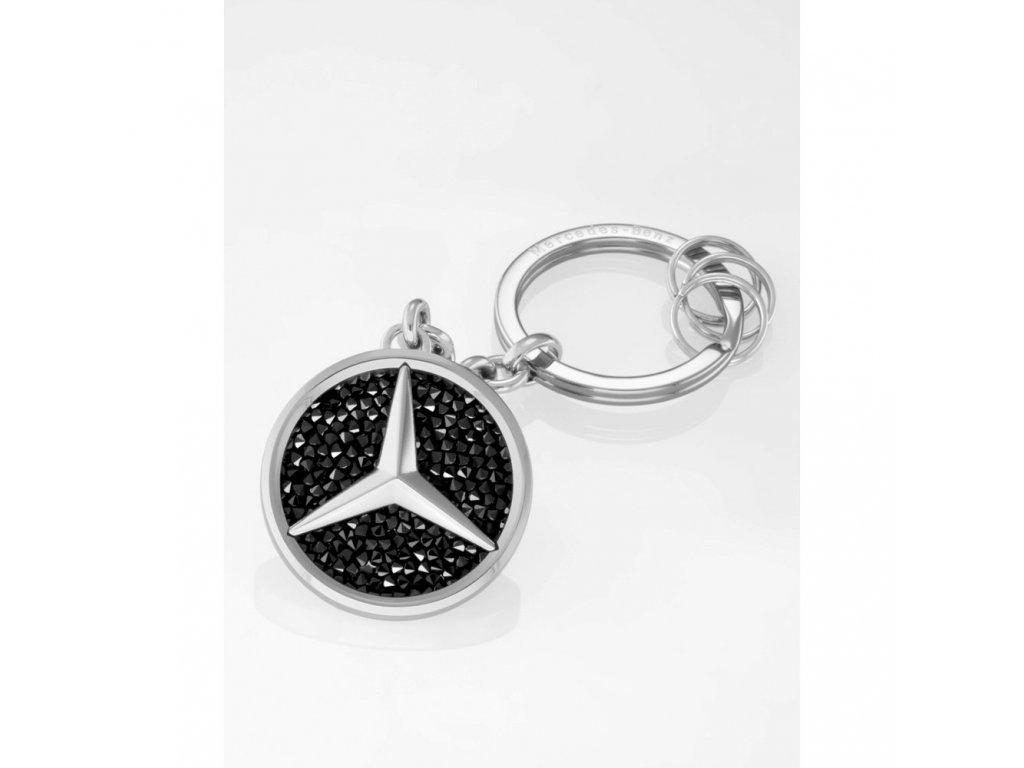 Mercedes Accessories Брелок для ключей из нержавеющей стали с логотипом Mercedes, украшенный кристаллами Swarovski