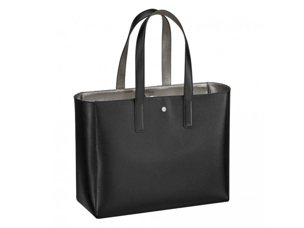 Mercedes Accessories Женская кожаная сумка для покупок черного цвета с логтипом Mercedes