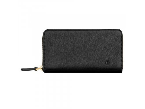 Mercedes Accessories Женский кожаный кошелек черного цвета на молнии со звездой Mercedes