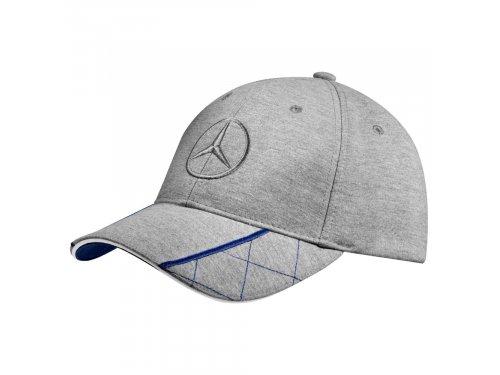 Mercedes Accessories Мужская бейсболка серого цвета, украшенная вышитой звездой Mercedes