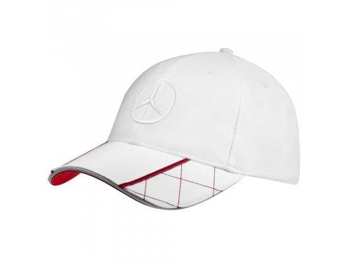 Mercedes Accessories Мужская бейсболка белого цвета, украшенная вышитой звездой Mercedes