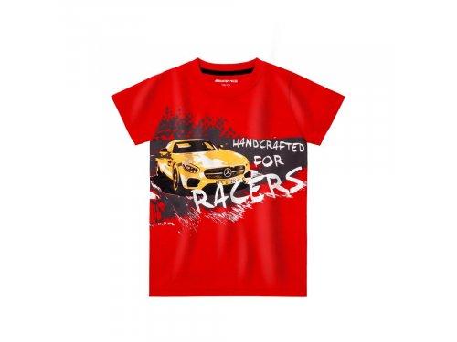 Mercedes Accessories Детская хлопковая футболка красного цвета с изображением автомобиля Mercedes-AMG GT