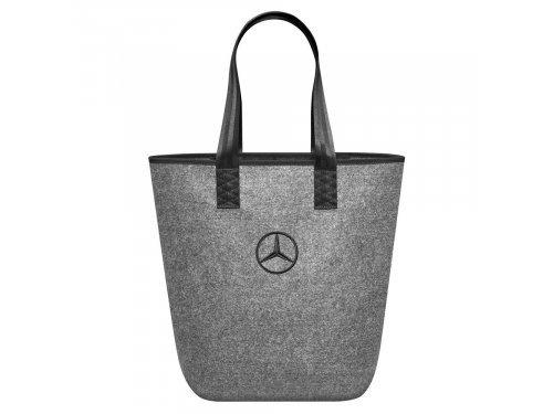 Mercedes Accessories Сумка для покупок серого цвета с черными ручками и вышитой звездой Mercedes