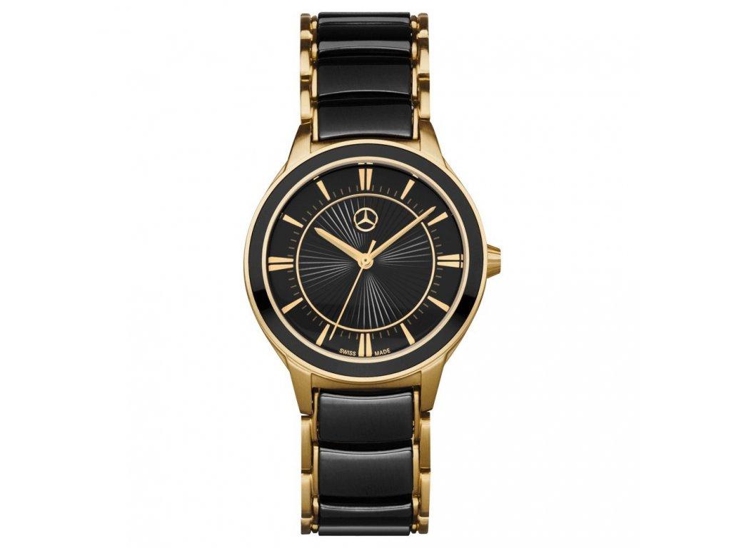 Mercedes Accessories Женские наручные часы золотисто-черного цвета со звездой Mercedes на циферблате