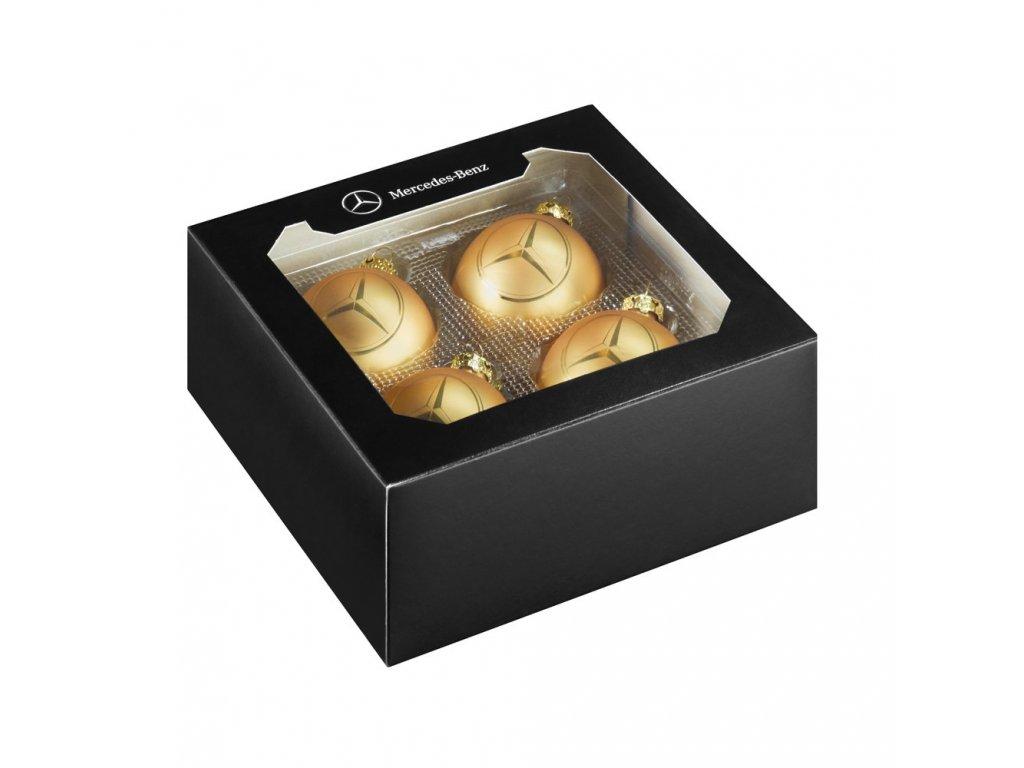 Mercedes Accessories Стеклянные новогодние шары золотистого цвета с эмблемой Mercedes-Benz