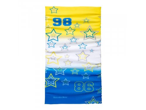 Mercedes Accessories Многофункциональный детский шарф синего, белого и желтого цветов с надписью Mercedes-Benz