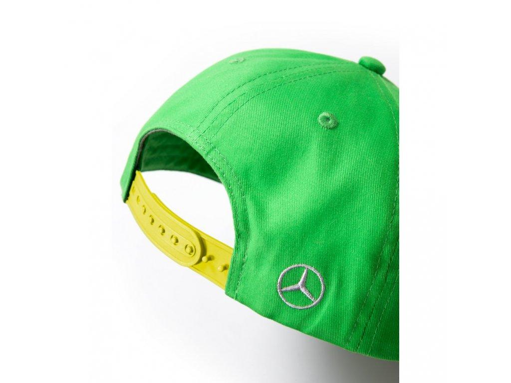 Mercedes Accessories Детская бейсболка зеленого цвета с плоским козырьком и логотипом Mercedes-Benz