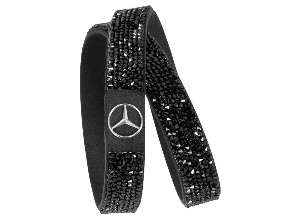 Mercedes Accessories Женский браслет черного цвета, украшенный кристаллами Swarovski и звездой Mercedes